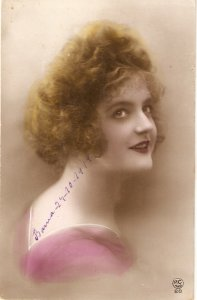 Pretty lady. Blond hair. Bare shoulders Nice old vintage French postcard