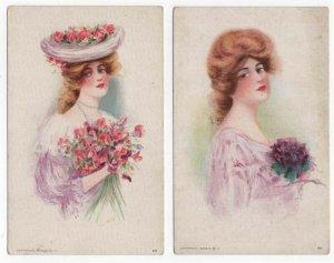 (4) Diff. Vintage Postcards Showing Victorian Women, 1909