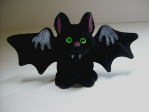 Vintage Halloween Vampire Bat Toy Green Eyed Fangs Original NOS 1960s Hong Kong