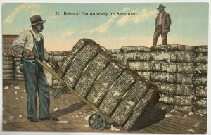 Old Divided Back DVB Era Postcard Bales of Cotton Ready For Shipment