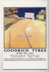 ad1031 - Goodrich Tyres, Never Run Foul, Car & Chicken - Modern Advert Postcard
