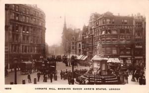 Ludgate Hill Showing Queen Anne's Statue London