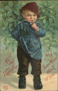 Valentine - Sweet Little Boy in Funny Hat c1910 Embossed Postcard