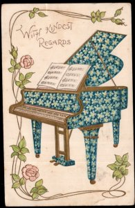 With Kindest Regards Piano covered in Forget-Me-Not Flowers Embossed pm1908 - DB