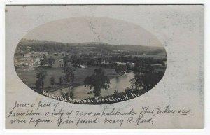 RPPC, Franklin, NH,  Birds-eye View Showing Head of The Merrimac, 1906