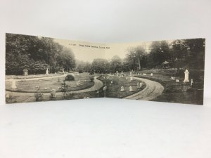 Concord MA Sleepy Hollow Cemetery Fold Open Postcard Panoramic View