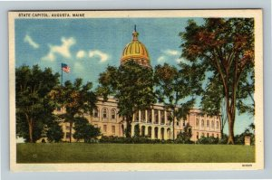 Augusta ME, State Capitol, Linen Maine Postcard