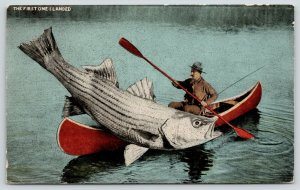The First One I Landed in Cassville Wisconsin~Exaggerated Fish on Canoe~1918
