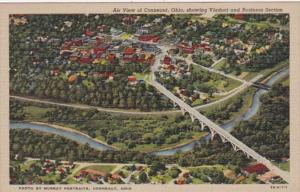 Ohio Conneaut Air View Showing Viaduct and Business Section 1950 Curteich