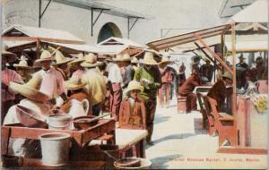 Interior Mexican Market C. Juarez Mexico Antique Postcard E41