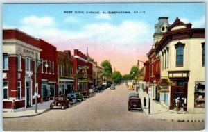 ELIZABETHTOWN, Kentucky  KY ~ WEST DIXIE AVENUE Street Scene ca 1940s Postcard