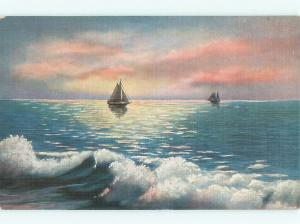 Linen SAILBOATS AND WAVES Milwaukee Wisconsin WI AE4545