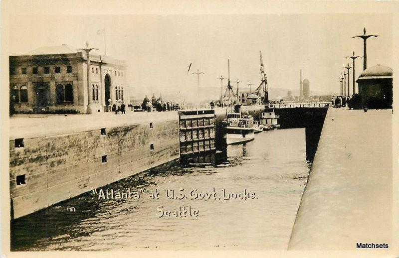 1920s Atlanta at US Government Locks SEATTLE WASHINGTON RPPC postcard 9835