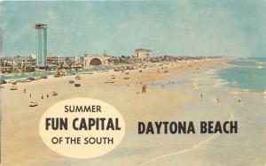 Daytona Beach Florida~People/Cars on Beach~Hotels~Tower~Resort Advertisement Bk