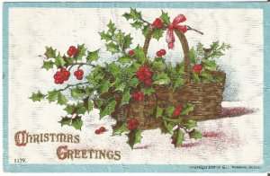 Basket of Holly and Berry Christmas Decoration Vintage Postcard Holiday Greeting