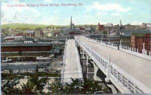 1910 HARRISBURG Mulberry Street Bridge View Railroad Pennsylvania Postcard CD