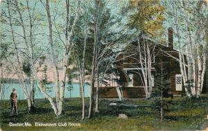 Dexter Maine~Elkinstown Club House~Man In the Birch Trees~Water~1910 Postcard