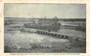 Idaho Power & Transportation Co's Power Plant, Snake River 1909 Vintage Postcard