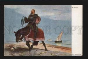 077782 Knight on HORSE by BOCKLIN vintage Color PC