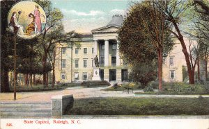 Raleigh North Carolina c1910 Postcard State Capitol and Grounds with Statue