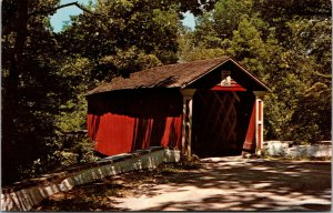 Vtg Covered Bridge Wooddale Delaware DE Unused Chrome Postcard