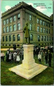 1910s OMAHA, Nebraska Postcard HIGH SCHOOL w/ Students & LINCOLN MONUMENT Unused