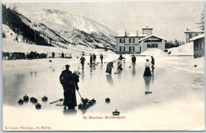 1910s St. Moritz, SWITZERLAND Postcard Winter Sport CURLING on Frozen Pond