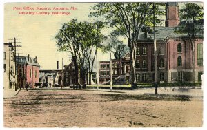 Auburn, Me., Post Office Square, showing County Buildings