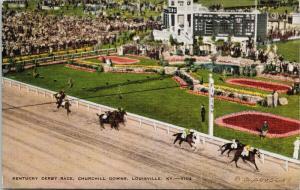 Kentucky Derby Race Churchill Downs Louisville KY Linen UNUSED Postcard E49