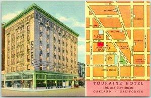 Oakland, CA Postcard TOURAINE HOTEL Street View / MAP - Curteich Linen c1940s