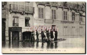 Paris Old Postcard Floods of January 1910 Raft Quai Billy