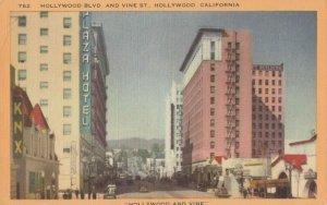 HOLLYWOOD, California, 1930-40s ; Hollywood & Vine Streets