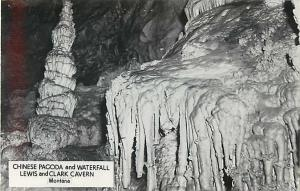 RPPC of the Chinese Pagoda & Waterfall, Lewis and Clark Caverns Montana. MT