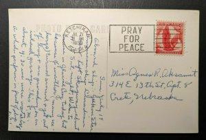 1959 Skagway Alaska to Crete Nebraska Pray for Peace Cancel Airmail RPPC Cover