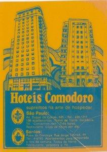 Brasil Sao Paulo & Santos Hotel Comodoro Vintage Luggage Label sk3987