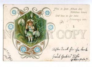 161514  Art Nouveau FAIRY Elf Girl in SNOWDROPS Vintage PC