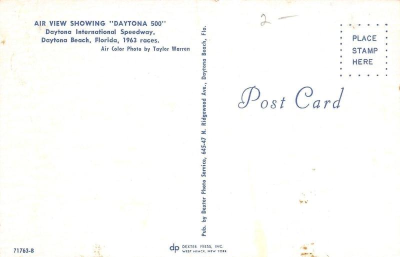 Daytona Beach~500 International Speedway~Race Track~Aerial View~1963 Postcard