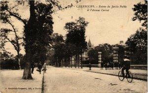 CPA CHERBOURG Entrée du Jardin Public et I'Avenue Carnot (128254)