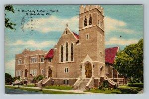 St. Petersburg, FL-Florida, Trinity Lutheran Church, Linen c1958 Postcard