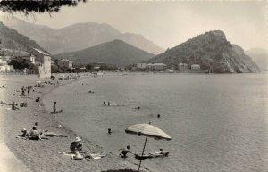 Vintage 1963 Real Photo Postcard, Petrovac Na Moru Beach, Montenegro 38W