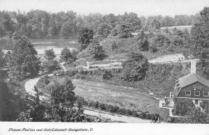 Youngstown Ohio~Birdseye Pioneer Pavilion~Road Past Lake Cohassett~1905 B&W PC