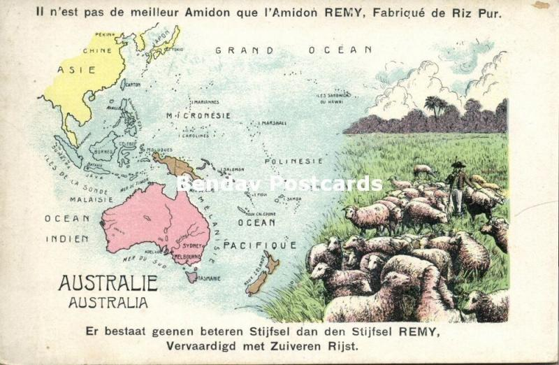 Australia Oceania MAP Postcard (1910s) Remy Paste Edition