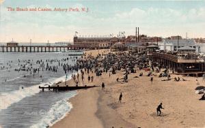 ASBURY PARK NEW JERSEY THE BEACH & CASINO~ POSTCARD 1909