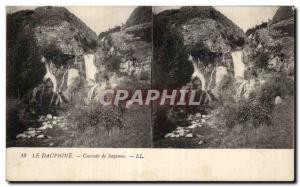 Stereoscopic Card - The Dauphine - Cascade Sazenne - Old Postcard