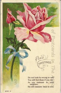 Peony Pink Rose Lemonade Pink Rose and Rosebud with Poem Greeting Postcard 1910s