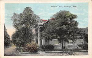 Muskegon Michigan~Woman's Club~Building Behind Trees~1926 Postcard