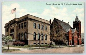 Boone Iowa~Ericson Library & Methodist Episcopal ME Church~1910 Postcard