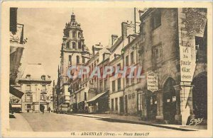 Postcard Old ARGENTAN Place Henri IV