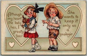 Whitney VALENTINE'S DAY Embossed Postcard Although My Heart the Lady Has…