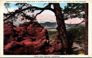 Pikes Peak Garden of Gods Colorado Vintage Color POSTCARD UNPOSTED